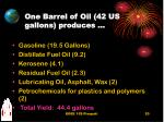 one barrel of oil 42 us gallons produces