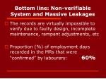 bottom line non verifiable system and massive leakages