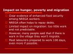 impact on hunger poverty and migration