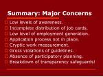 summary major concerns