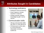 attributes sought in candidates