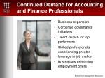 continued demand for accounting and finance professionals
