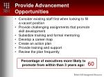 provide advancement opportunities