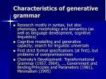 characteristics of generative grammar