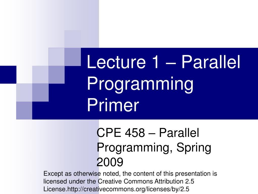 cpe 458 parallel programming spring 2009 l.