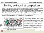 binding and nominal composition