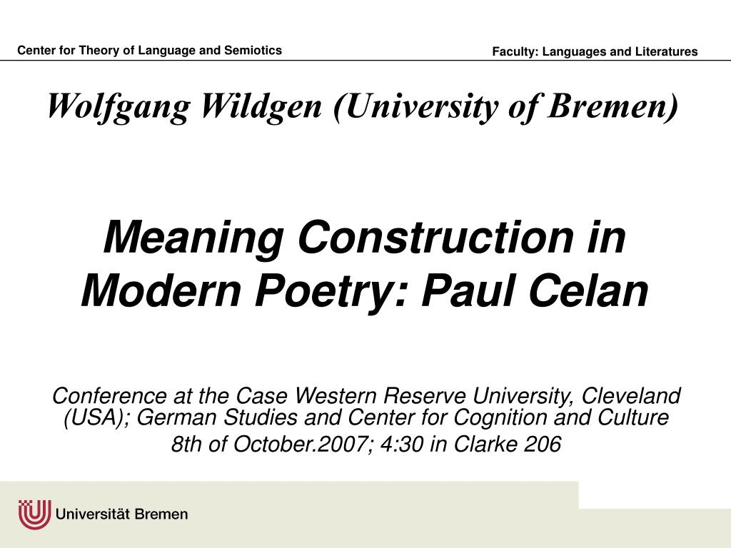 meaning construction in modern poetry paul celan l.