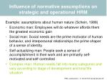 influence of normative assumptions on strategic and operational hrm