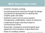 mbo how to make it work