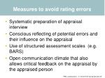 measures to avoid rating errors