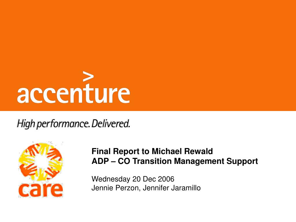 final report to michael rewald adp co transition management support l.