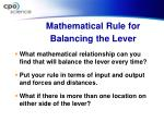 mathematical rule for balancing the lever