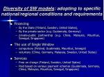 diversity of sw models adopting to specific national regional conditions and requirements