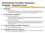 environment canada s genomics program research focus