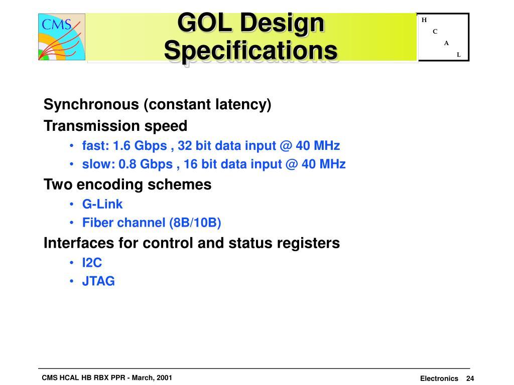 GOL Design Specifications