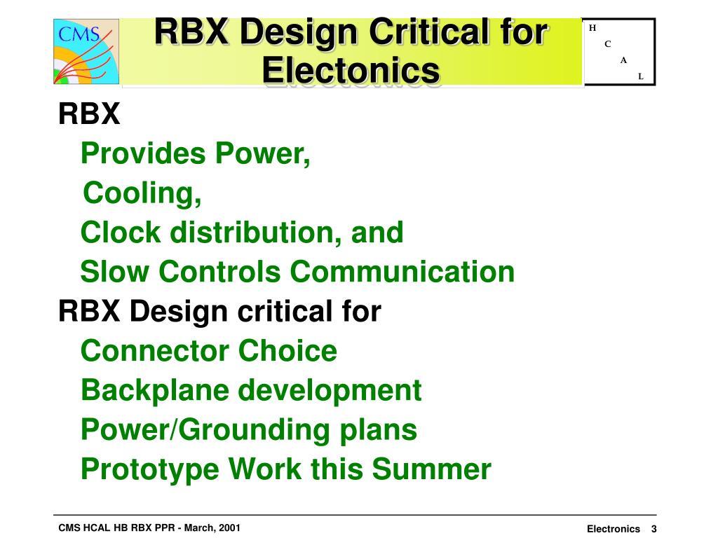 RBX Design Critical for Electonics