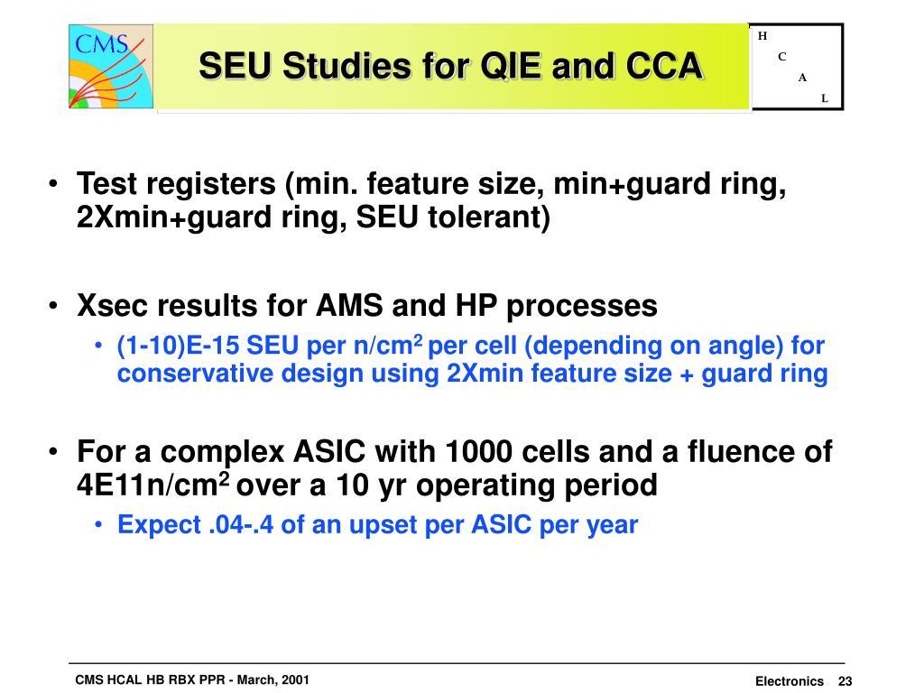 SEU Studies for QIE and CCA