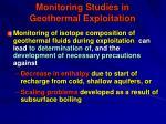 monitoring studies in geothermal exploitation77