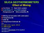 silica geothermometers effect of mixing