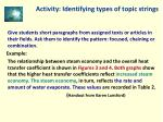 activity identifying types of topic strings