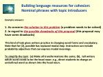 building language resources for cohesion nominal phrases with topic introducers29
