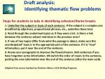 draft analysis identifying thematic flow problems