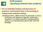 draft analysis identifying thematic flow problems20