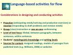 language based activities for flow
