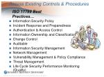 assess existing controls procedures