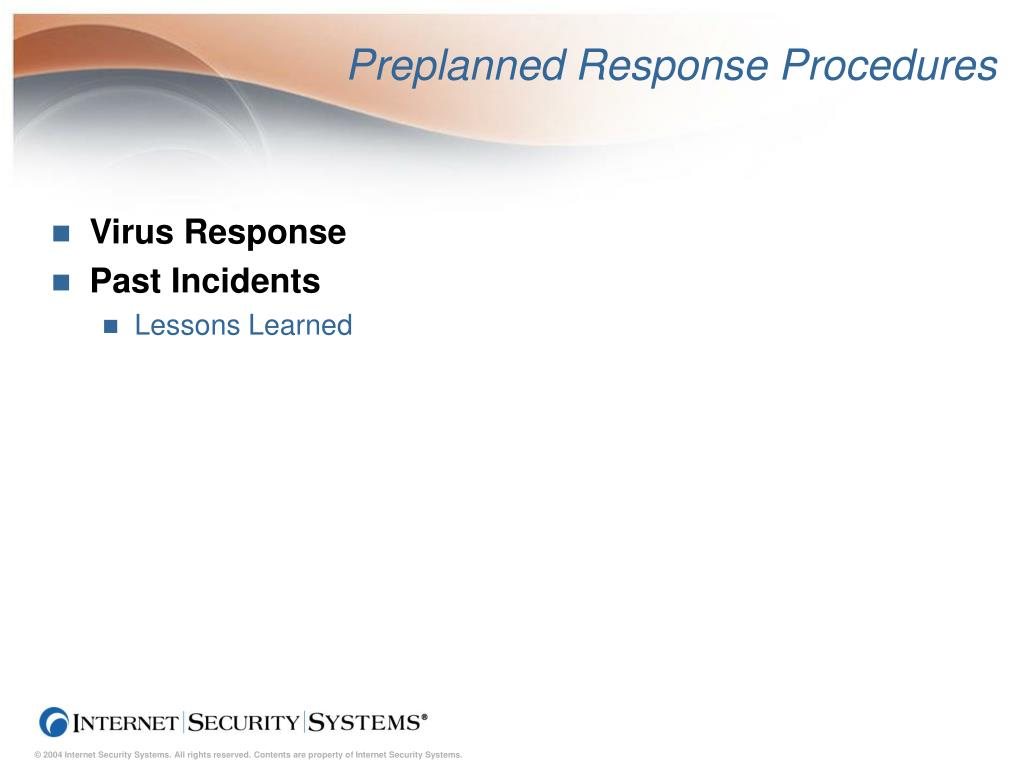 Preplanned Response Procedures
