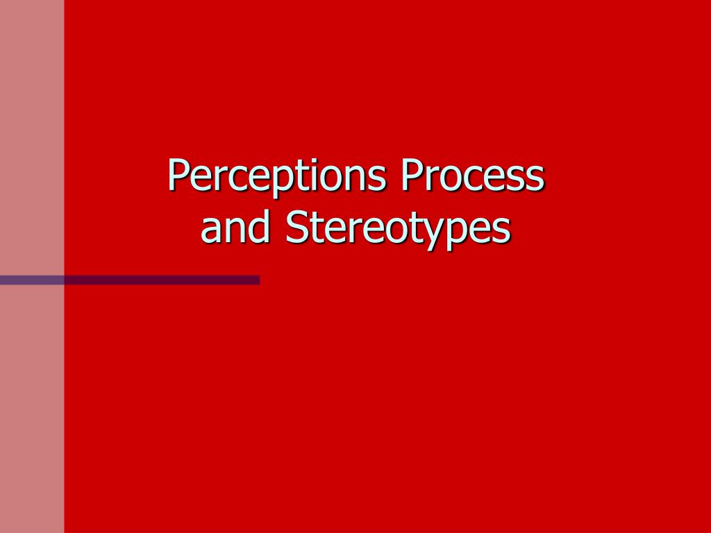 perceptions process and stereotypes l.