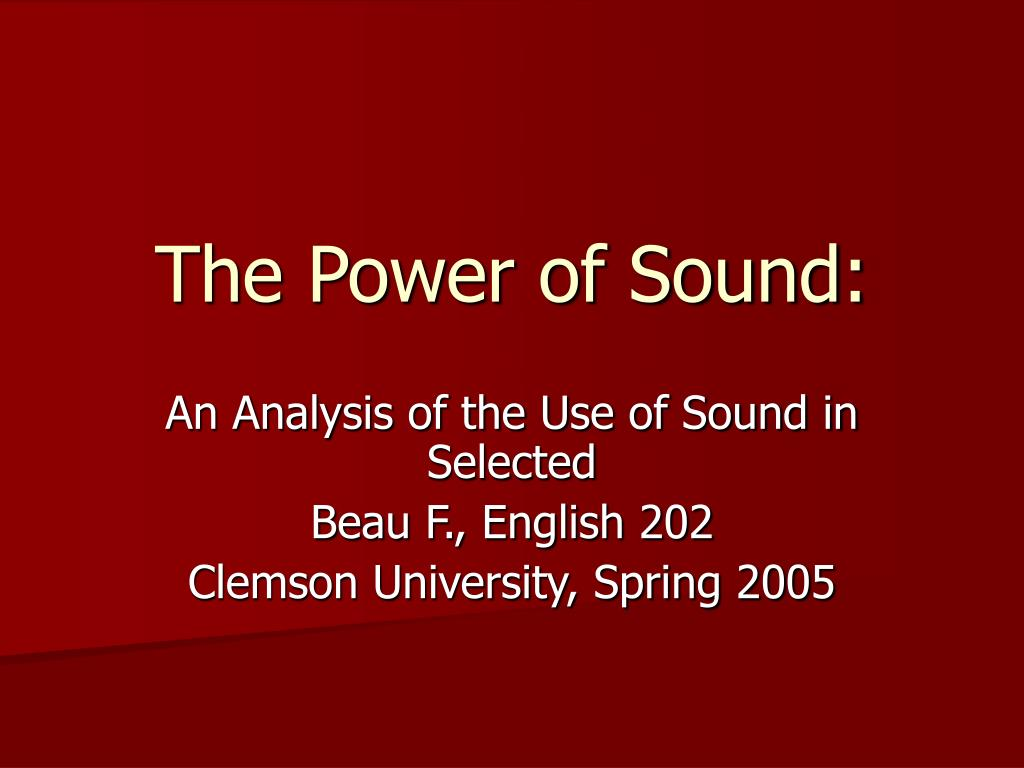 the power of sound l.