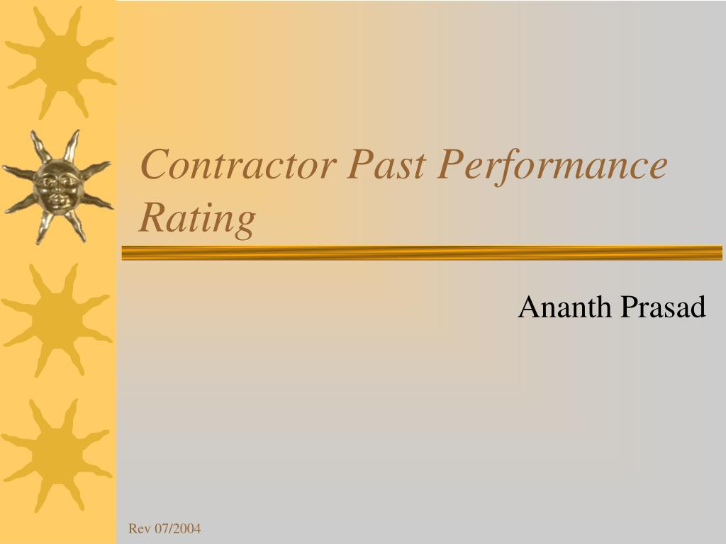 contractor past performance rating l.