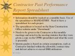 contractor past performance report spreadsheet