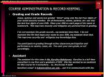 course administration record keeping