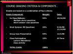 course grading criteria components