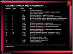 course topics and calendar