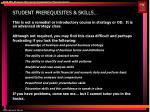 student prerequisites skills