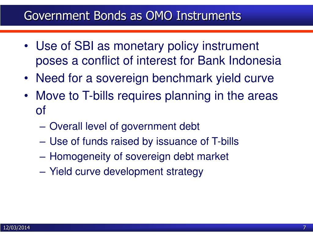 Government Bonds as OMO Instruments