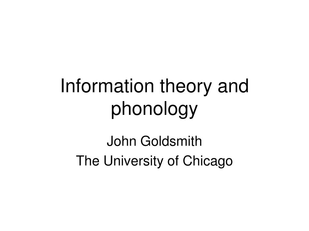 information theory and phonology l.