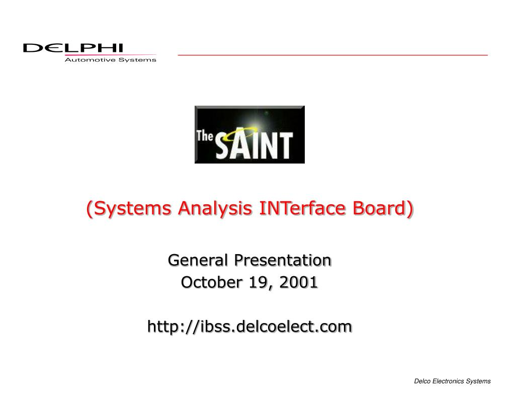 systems analysis interface board l.