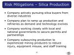 risk mitigations silica production