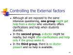 controlling the external factors36