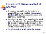 example 6 20 groups as unit of analysis