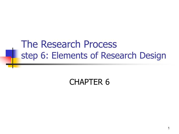 the research process step 6 elements of research design n.
