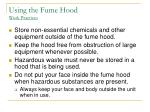 using the fume hood work practices14