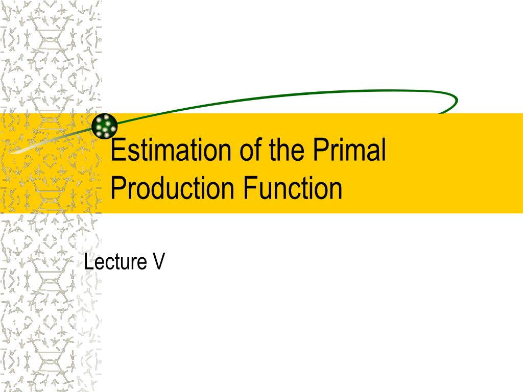 estimation of the primal production function l.