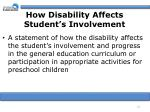 how disability affects student s involvement