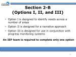 section 2 b options i ii and iii22