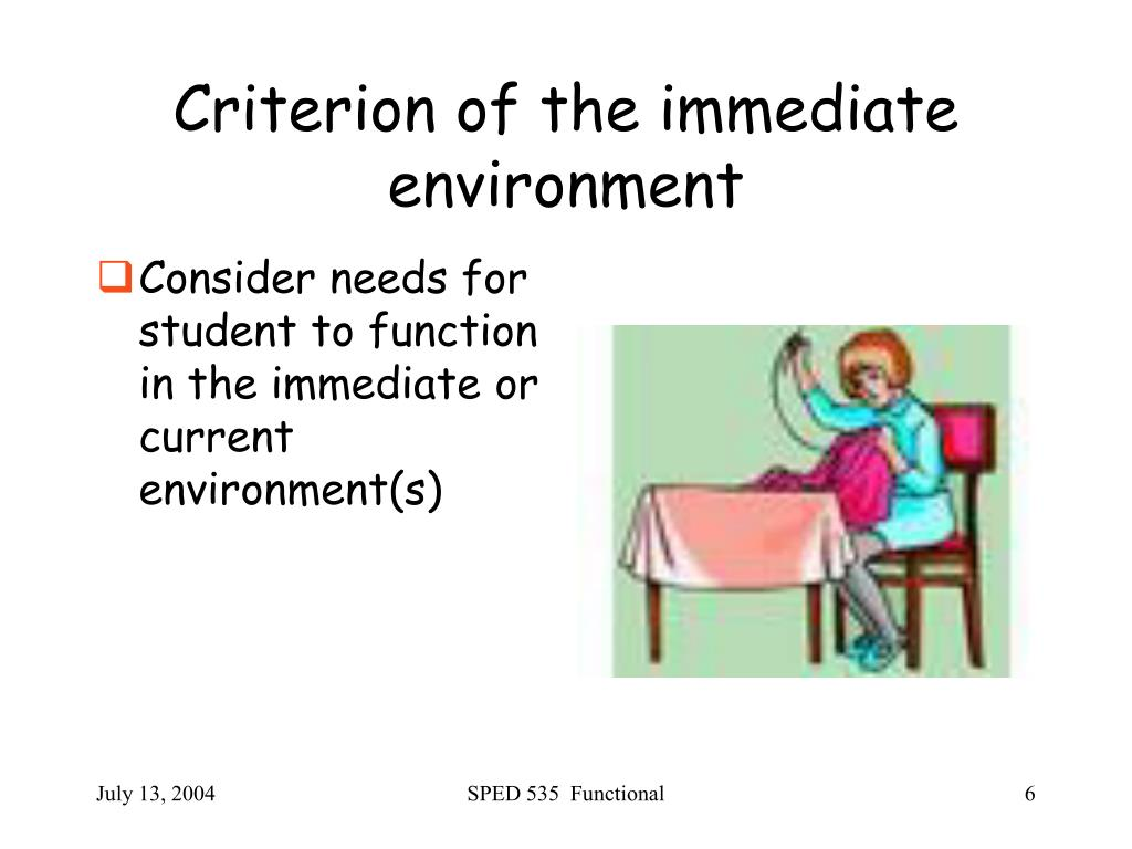 Criterion of the immediate environment
